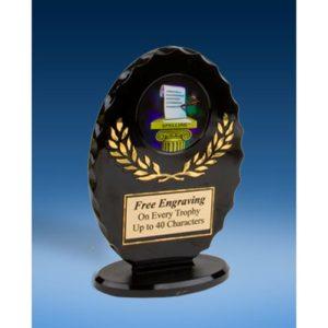 Spelling Oval Black Acrylic Trophy