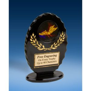 Track Oval Black Acrylic Trophy