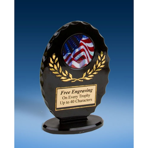 USA Flag Oval Black Acrylic Trophy