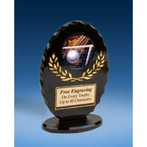 Volleyball Oval Black Acrylic Trophy