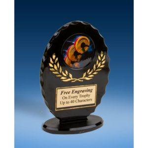 Weightlifting Oval Black Acrylic Trophy