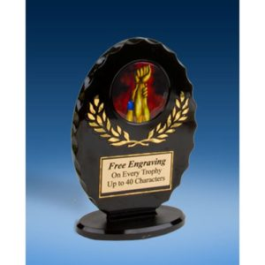Wrestling Oval Black Acrylic Trophy