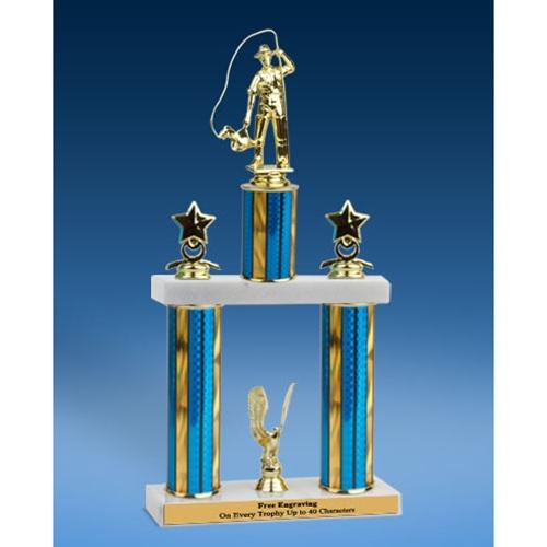 """Fishing Sport Figure 2 Tier Trophy 19"""""""