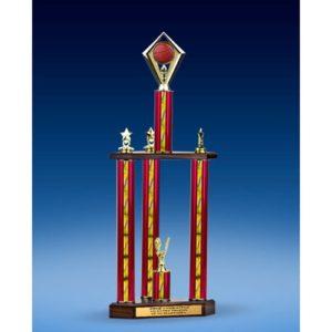 "Basketball Diamond Three-Tier Trophy 28"""