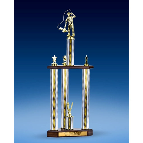 "Fishing Sport Figure Three-Tier Trophy 28"""