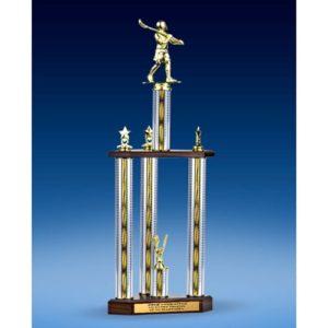 """Lacrosse Sport Figure Three-Tier Trophy 28"""""""