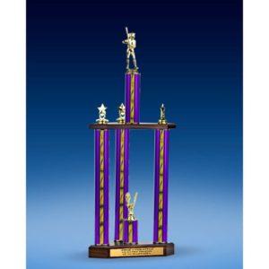 "Softball Sport Figure Three-Tier Trophy 28"""