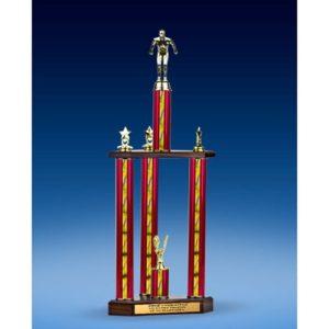 "Swimming Sport Figure Three-Tier Trophy 28"""