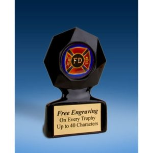 Fire Department Black Star Acrylic Trophy