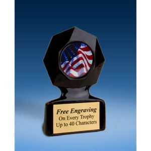 USA Flag Black Star Acrylic Trophy