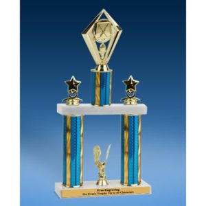 """Hockey Diamond 2 Tier Trophy 16"""""""