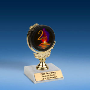 2nd Soft Spinner Mylar Holder Trophy 6""