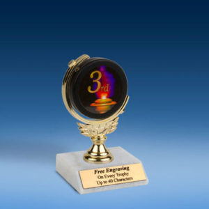 "3rd Soft Spinner Mylar Holder Trophy 6"""