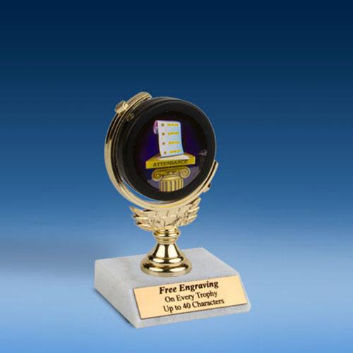 "Attendance Soft Spinner Mylar Holder Trophy 6""-0"