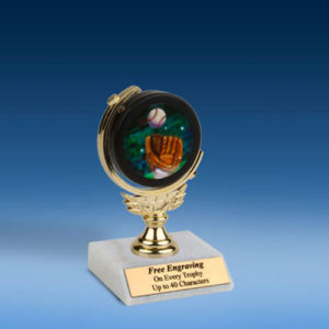 Baseball 2 Soft Spinner Mylar Holder Trophy 6""