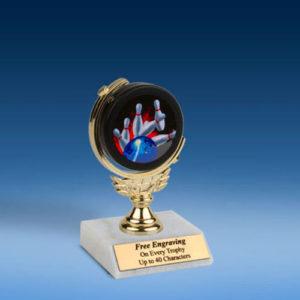"""Bowling Soft Spinner Mylar Holder Trophy 6""""-0"""