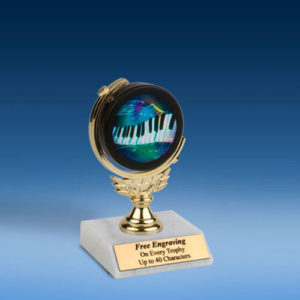 """Music 2 Soft Spinner Mylar Holder Trophy 6""""-0"""