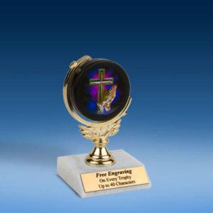"""Religious Soft Spinner Mylar Holder Trophy 6""""-0"""