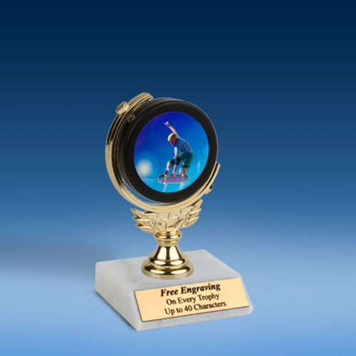 "Skateboarding Soft Spinner Mylar Holder Trophy 6""-0"