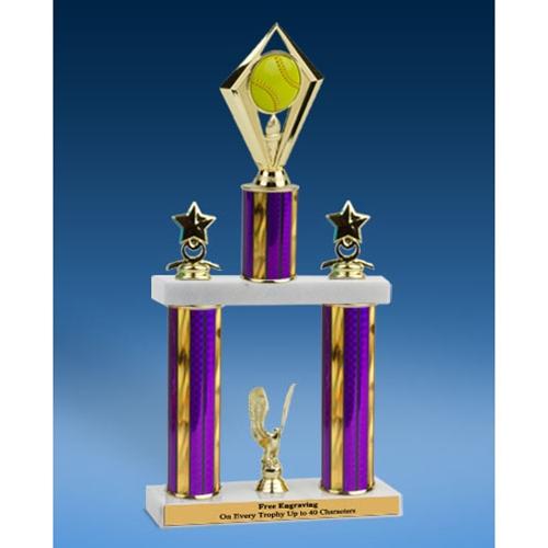 "Softball Diamond 2 Tier Trophy 16"""
