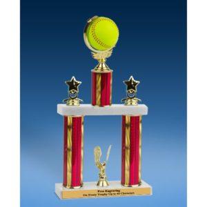 "Softball Spinner Ball 2 Tier Trophy 16"""