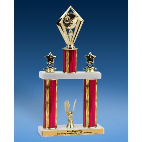 Track Diamond 2 Tier Trophy 16""