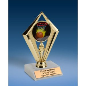 Basketball Sport Diamond Trophy 6""