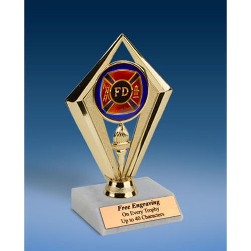 "Fire Department Sport Diamond Trophy 6"""