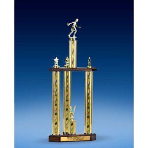 "Bowling Sport Figure Three-Tier Trophy 25"""
