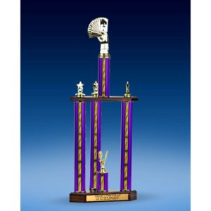 """Poker Sport Figure Three-Tier Trophy 25"""""""