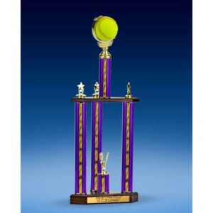 Softball Soft Spinner Ball Three-Tier Trophy 25""