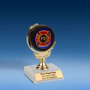 """Fire Dept. Soft Spinner Mylar Holder Trophy 6""""-0"""