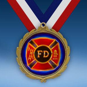Fire Department Wreath Medal-0