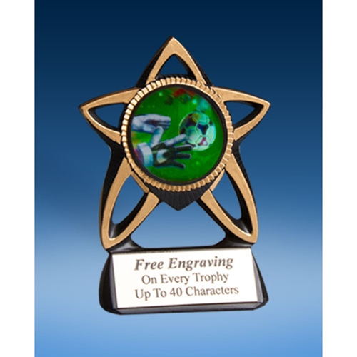 Soccer 3 Gold Star Mylar Holder