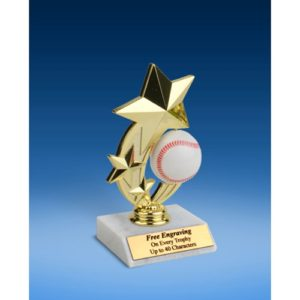 Baseball 3-Star Sport Spinner Trophy 6""