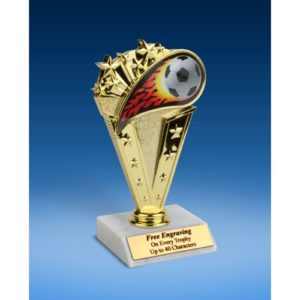 "Soccer Sport Flame Trophy 6"""