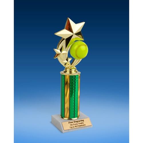"""Softball 3-Star Sport Spinner Trophy 10"""""""