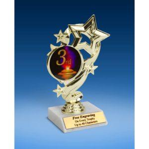 "3rd Place Star Ribbon Trophy 6"""
