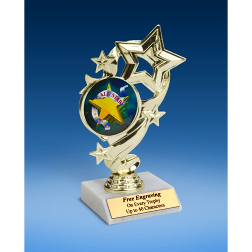 All Star Star Ribbon Trophy 6""