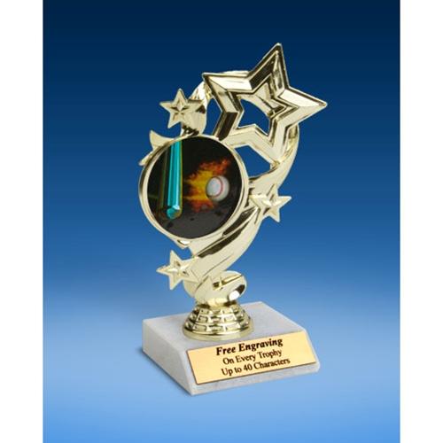 "Baseball 1 Star Ribbon Trophy 6"""