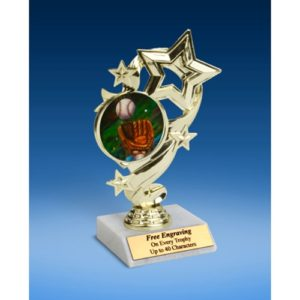Baseball 2 Star Ribbon Trophy 6""