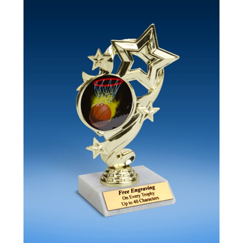 Basketball 1 Star Ribbon Trophy 6""