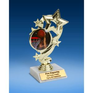 Basketball 2 Star Ribbon Trophy 6""