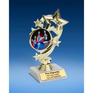 "Bowling 1 Star Ribbon Trophy 6"""