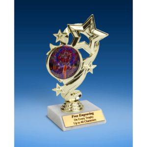 "Cheerleading 2 Star Ribbon Trophy 6"""