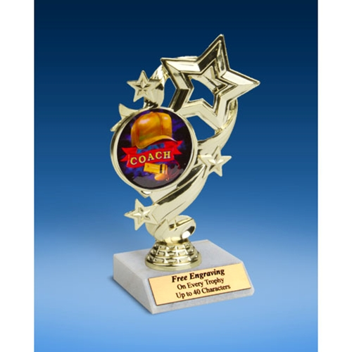 "Coach Star Ribbon Trophy 6"""
