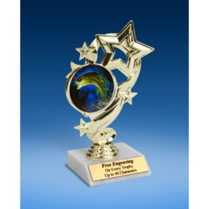 "Fishing Star Ribbon Trophy 6"""