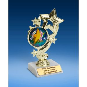 Most Improved Star Ribbon Trophy 6""