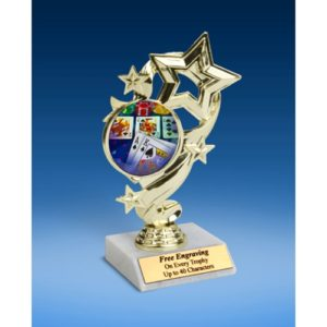 "Poker Star Ribbon Trophy 6"""