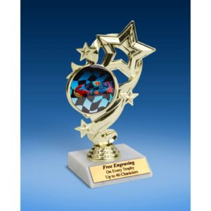 Racing Star Ribbon Trophy 6""